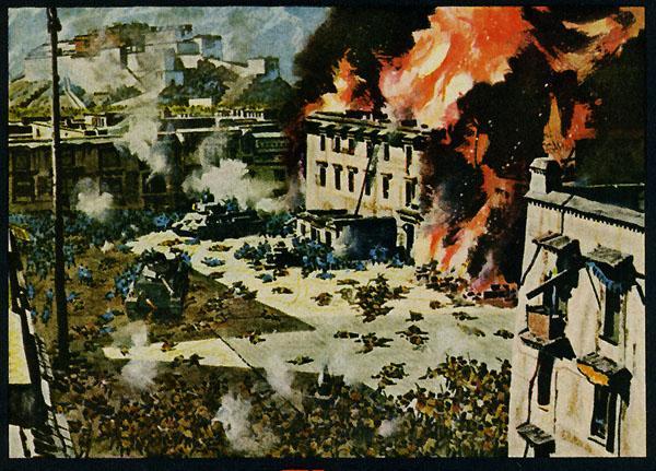Artist's impression of the Lhasa Uprising (Reader's Digest, Feb 1970)